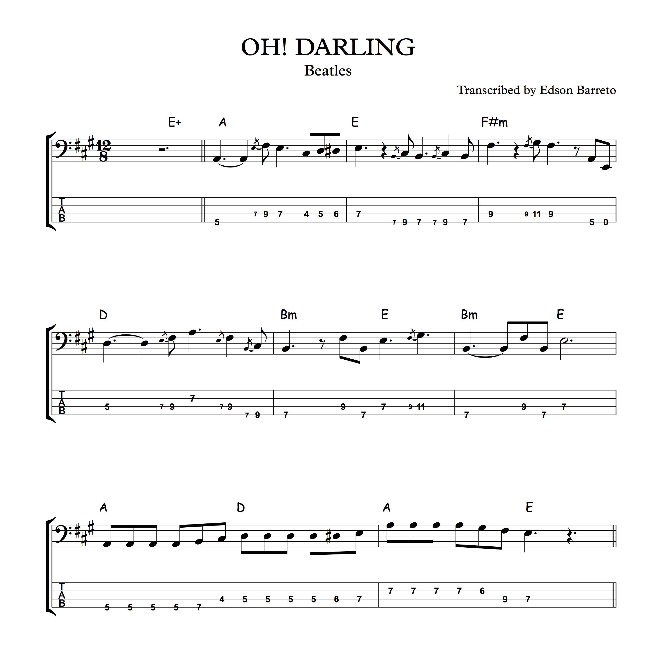 Oh Darling Bass Tab